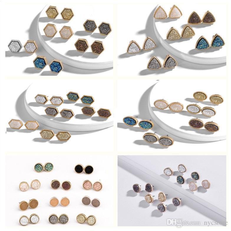Druzy Drusy Earrings Gold Plated Hexagon Round Geometry Stone Stud Earrings Christmas gift