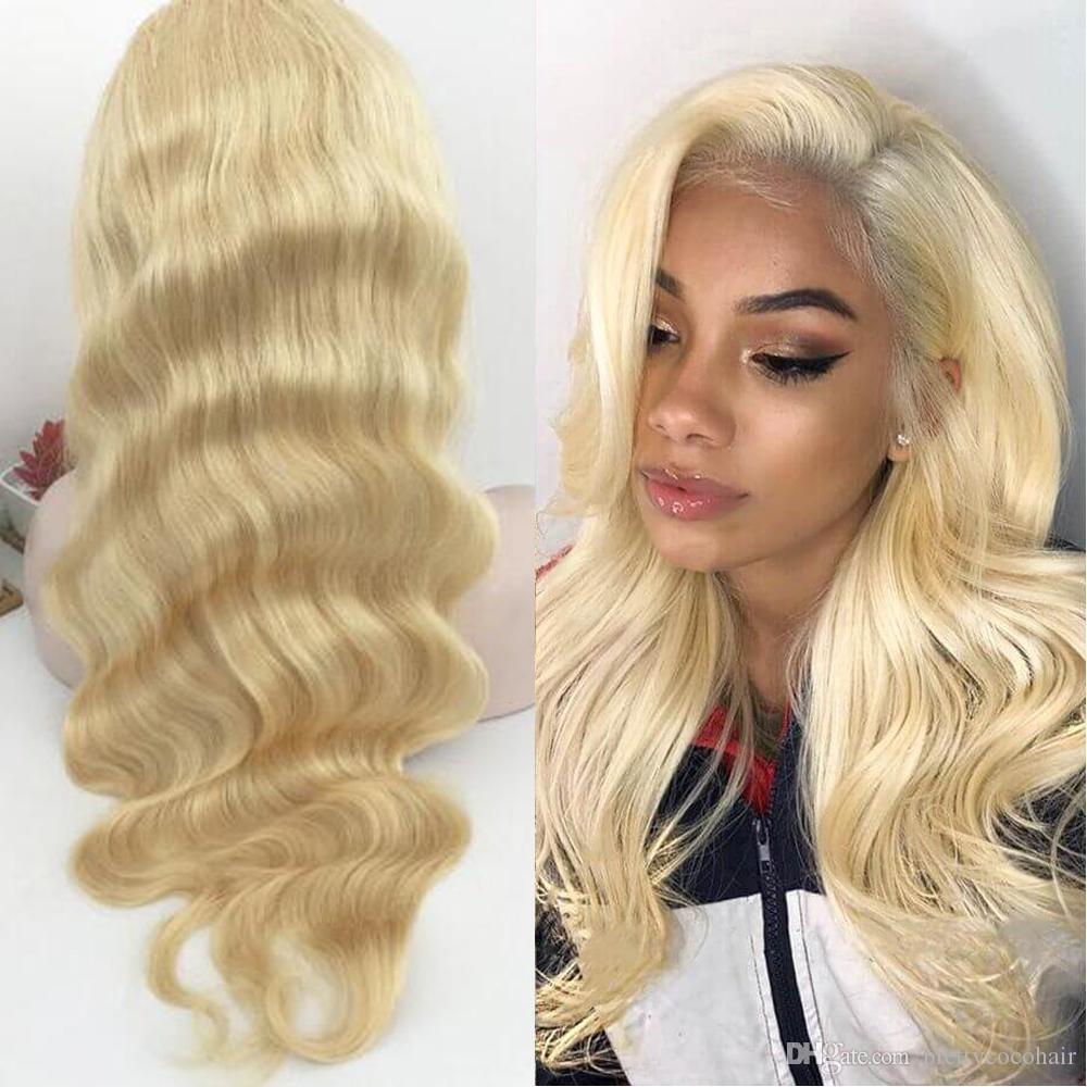 Brésilienne Hétéro Corps Vague Transparente Pleine Dentelle Perruque 613 Blonde pour Femme Noire avec Bébé Cheveux Miel Blonde Cheveux Humains Avant de Lacet Perruques