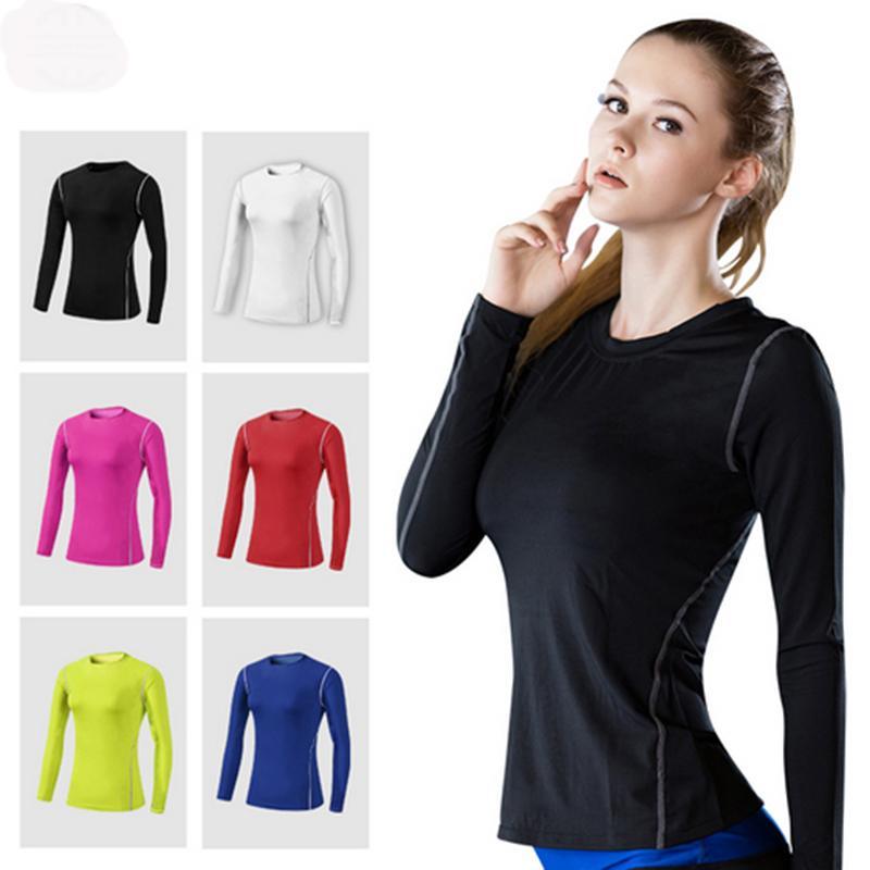 Las mujeres atléticas entrenamiento Yoga camisa corriente de compresión elástica de secado rápido de T o de la camisa del chaleco Mujer físico culturismo