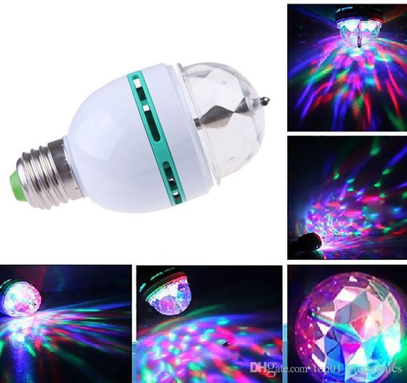LED 전구 풀 컬러 3W RGB E27 LED 크리스탈 무대 조명 자동 회전 램프 AC85-265V 레이저 디스코 DJ 파티 휴일 댄스 전구