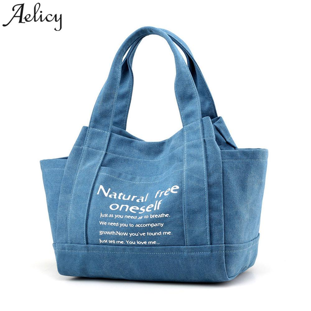 Aelicy Girl Shoulder Bag @ Casual Lettera Stampa Canvas Women Borsa Lady Bags Bolsa Feminina Drop Ship 2019 Hot Sac A Main J190616