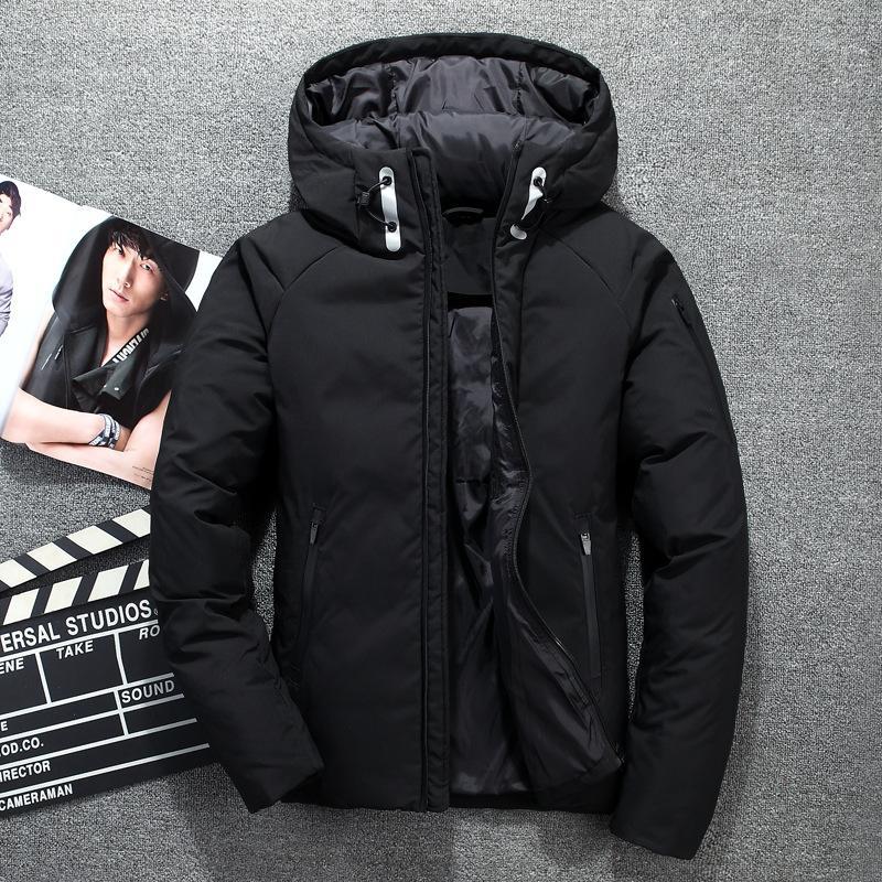 Новая зимняя куртка 2019 Высокое качество белая утка вниз Мужская куртка теплая с капюшоном пальто горячего сбывания способа вскользь вниз ветровки Мужчины