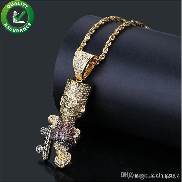 Iced Out Pendant Hip Hop Jewelry Cartoon Simpson Mens Gold Chain Pendants Luxury Designer Necklace Bling Micro Pave CZ Diamond Rock Fashion