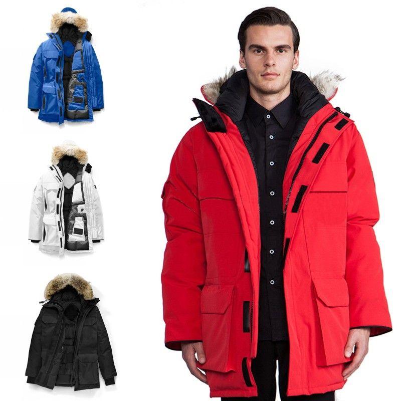 Expedición de invierno Fourrure de Down Parka Hombre Jassen Chaquetas de vestir exteriores encapuchada de la piel de Big Fourrure Manteau ganso chaqueta Escudo Hiver Doudoune