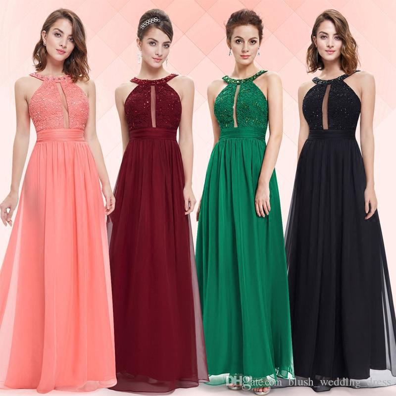 New A-line Evening Dresses Red Black Chiffon Applique Beads High Quality Halter Strap Long Prom Party Dresses DH150