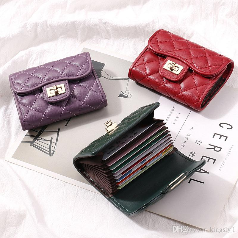 جديد حامل الخراف بطاقة الائتمان للنساء من الجلد ID جواز سفر حقائب بطاقة عمل مصمم الأزياء المحفظة قصيرة