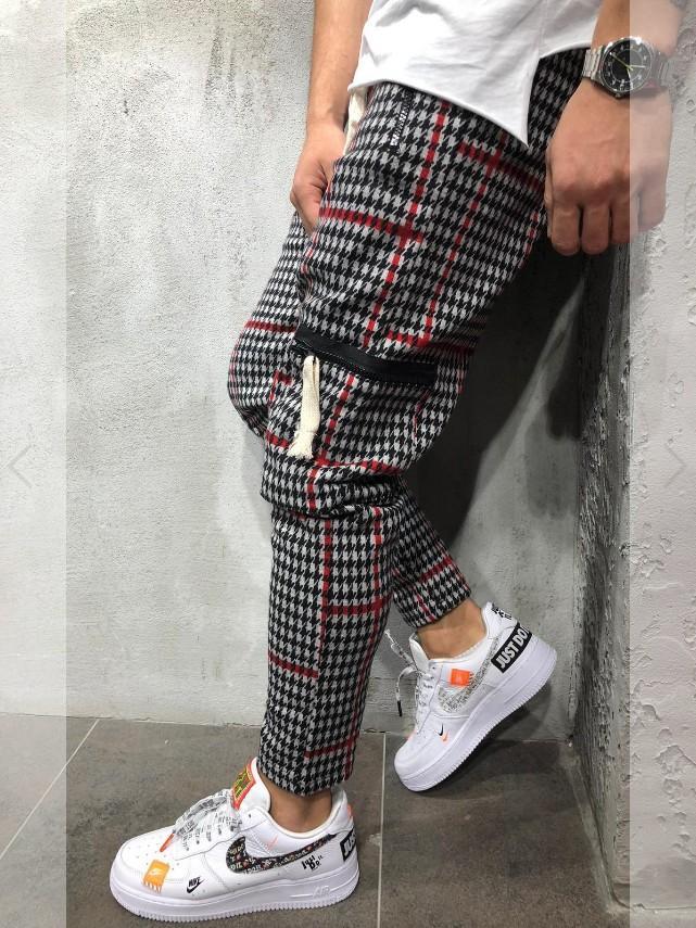 2019 Мужские полные спортивные штаны повседневные эластичные хлопчатобумажные мужские спортивные брюки в полоску Узкие тренировочные брюки Брюки Jogger