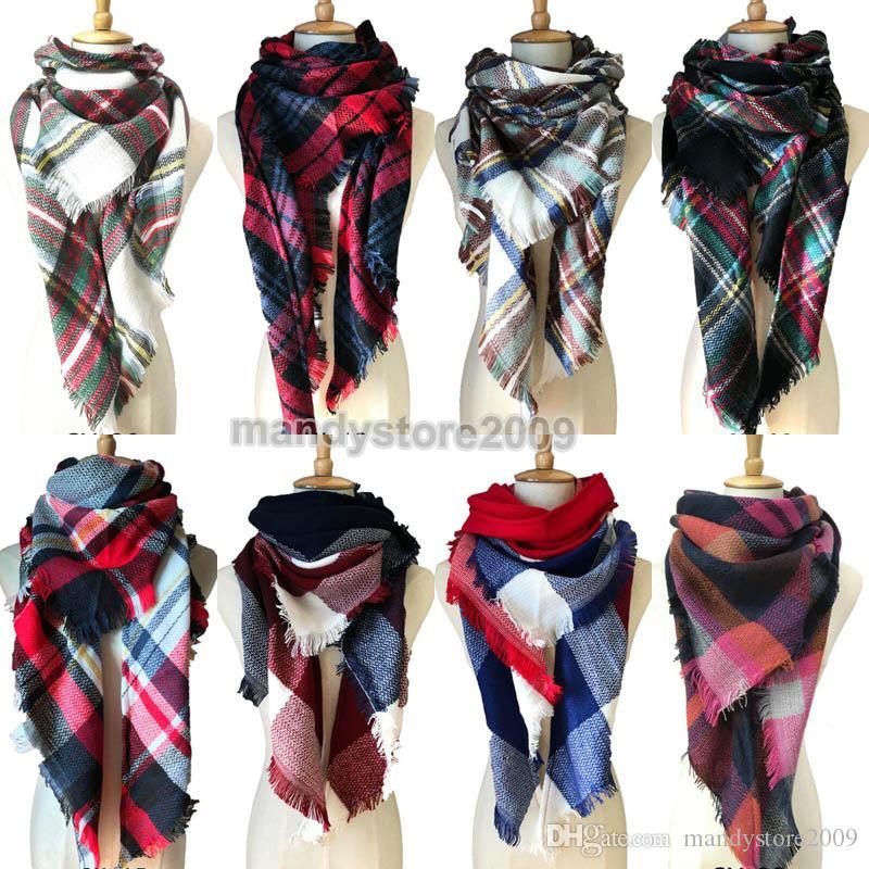 Women Plaid Scarves Grid Tassel Wrap Oversized Check Shawl Winter Neckerchief Lattice Triangle Blanket Scarf Free Shipping