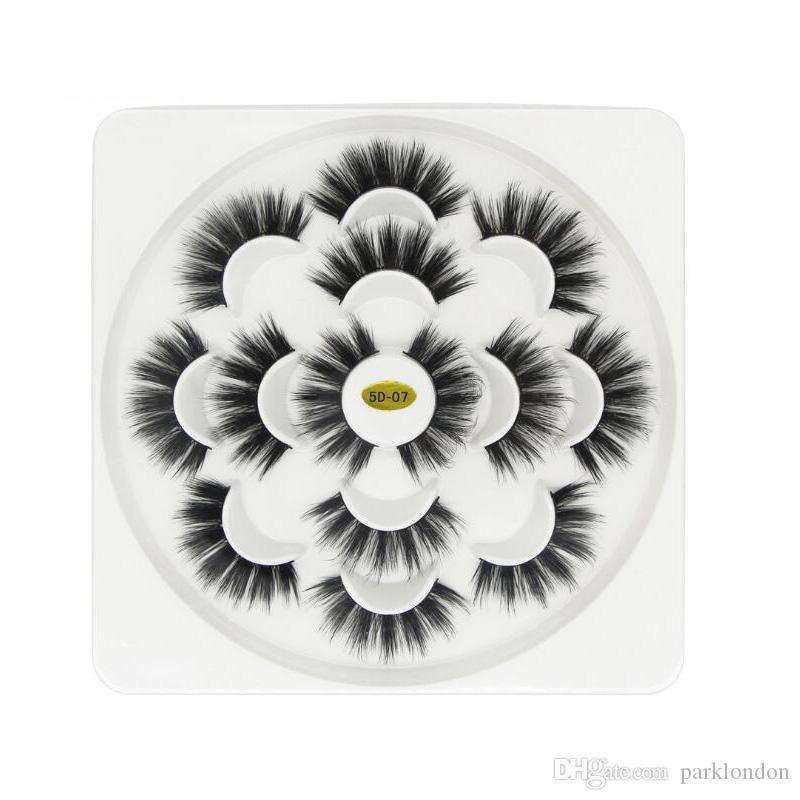7 paar Lotus 5D Falsche Wimpern 3,5 cm Natürliche Lange Dicke Weiche Gefälschte Wimpern 7 Paare / satz Extensions Flair Schwarz Farbe Wimpern großhandel