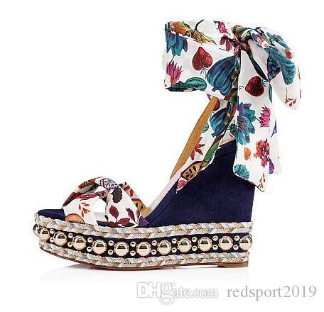 Mükemmel Kırmızı Alt Levantinana Tabaktan Sandalet Takozlar Espadrilles Dokuma Ayak Bileği Kayışı Kadın Kama Bayanlar Gladyatör Sandalet EU35-42