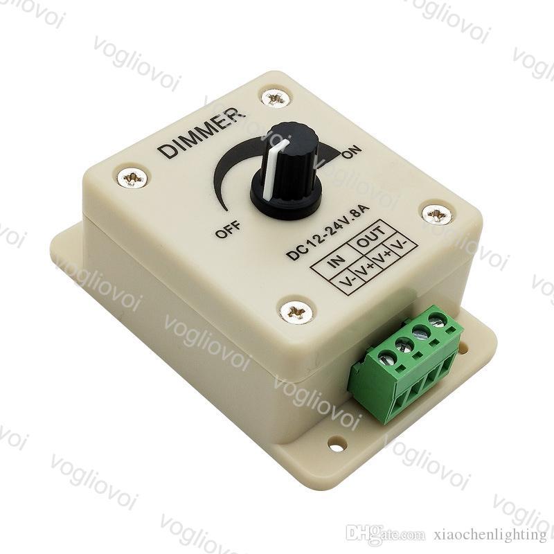 디머 노브 스위치 단일 색상 12-24V 8A 레귤레이터 조정 가능한 컨트롤러 조명 액세서리 3528 3014 5050 LED 스트립 라이트 DHL