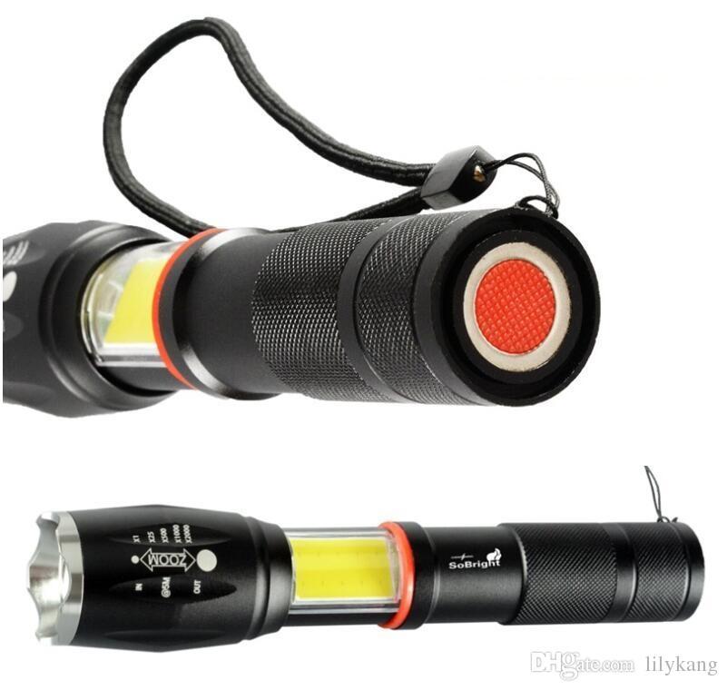 COB T6 moda abbagliamento torcia torce elettriche di illuminazione di campeggio esterna della pesca di caccia a cavallo torcia di emergenza ha portato il riscaldamento della lampada Blacklight