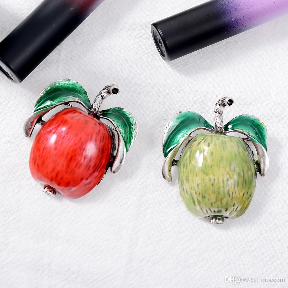 Spille a forma di mela verde stile estivo per donna Spilla di frutta carina Pin Donna Uomo Bambini Zaino Distintivi Gioielli di moda