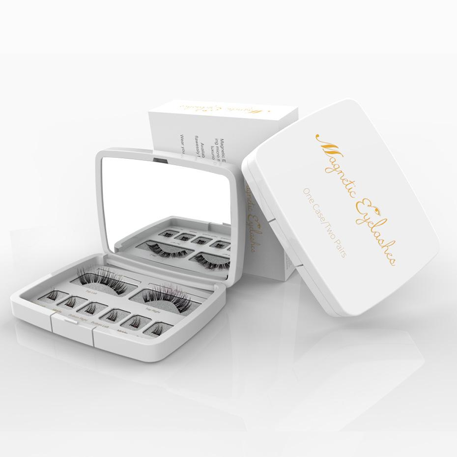 Genailish 8PCS 3D 자기 속눈썹 밍크 래쉬 전체 스트립 속눈썹 속눈썹와 핀셋 두 자석 가짜 속눈썹 SCT-W-602