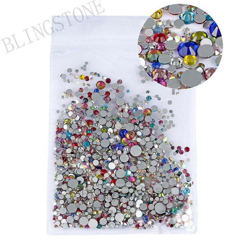 Mix Sizes 1000PCS/Pack Crystal Clear AB Non Hotfix Flatback Rhinestones Nail Rhinestones For Nails 3D Nail Art Decorations Gems C19011401