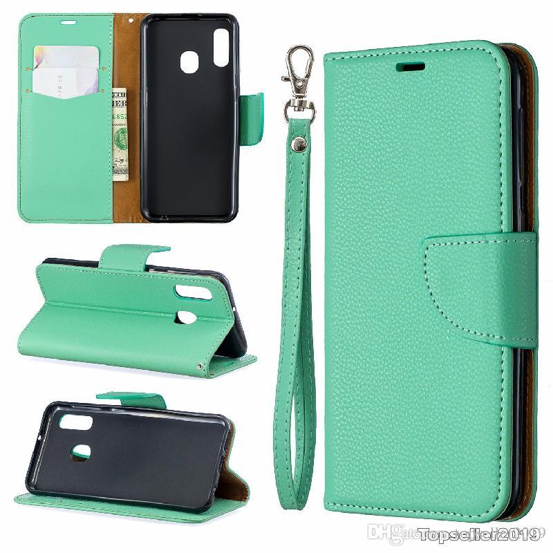 Pour SAMSUNG A20E Stand Design Portefeuille Style Couleur Pure Litchi Grain Étui En Cuir Téléphone Sac Couverture Avec Étui pour téléphone et titulaire de la carte B096