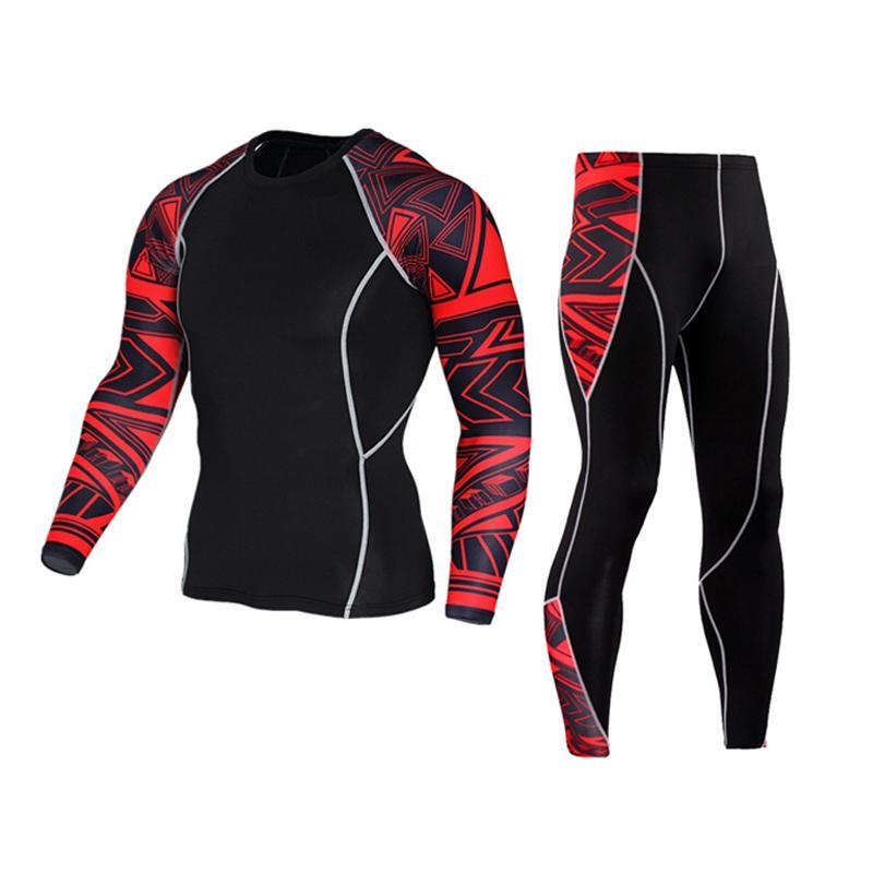 Muscle vestito degli uomini 3D Stampe Compression T-shirt + pant maniche lunghe termica strato sotto Top MMA Rashguard Base Fitness sollevamento pesi fz0387