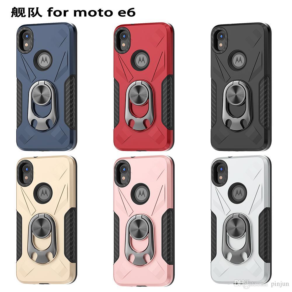 Custodia protettiva in titanio con scudo protettivo in titanio resistente resistente all'armatura ibrida con anello in metallo ibrido per Motorola Moto E6 G7 POWER