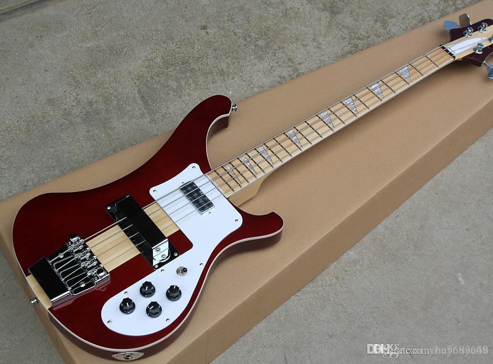 Kahverengi beyaz korumaları, plaka klavye ile 4 bas elektro gitar dizeleri kırmızı. Kişiselleştirilebilir
