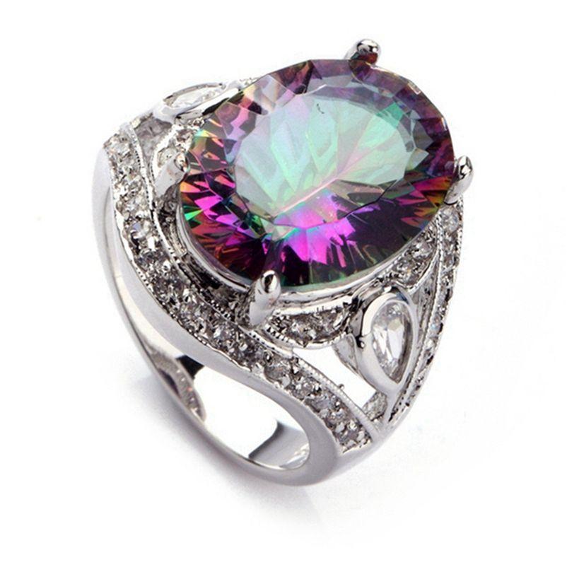 Shunxunze Dropshipping Best Venta Anillos de boda Joyería para hombres y mujeres Rainbow Cubic Zirconia Rodio Plateado R701 Tamaño 6 7 8 9 10 11 12 13