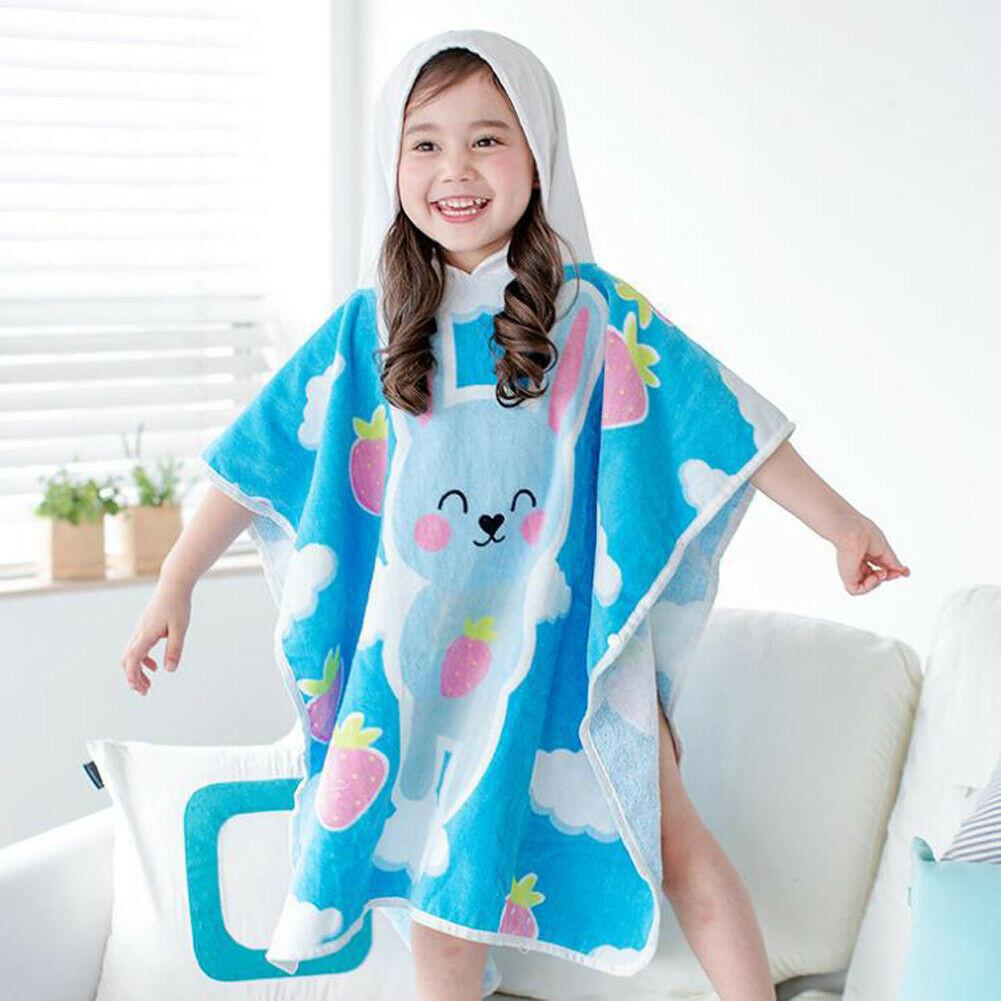 2019 Childrens 100% Cotton Bathrobe Terry Towelling Hooded Bath Robe Gown Cartoon nightgown