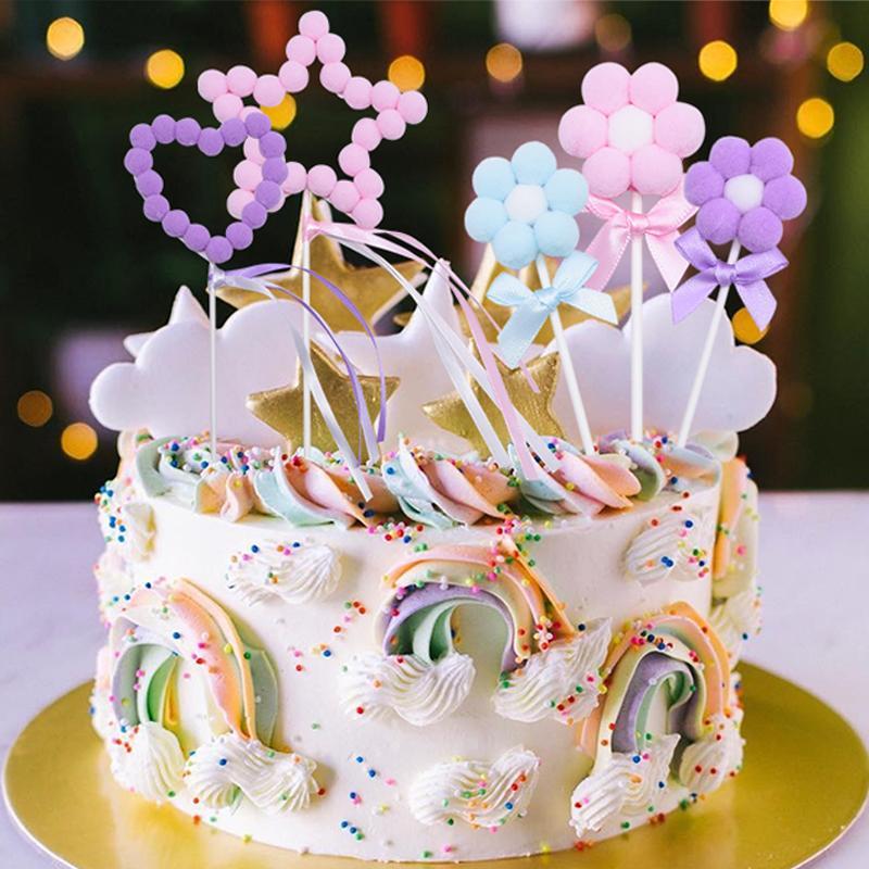 3pcs Mignon Cake Toppers Coeurs Étoiles Fleurs Hairball Cupcake Toppers Baby Shower Fête D'anniversaire De Mariage Décor De Gâteau Décor Fournitures