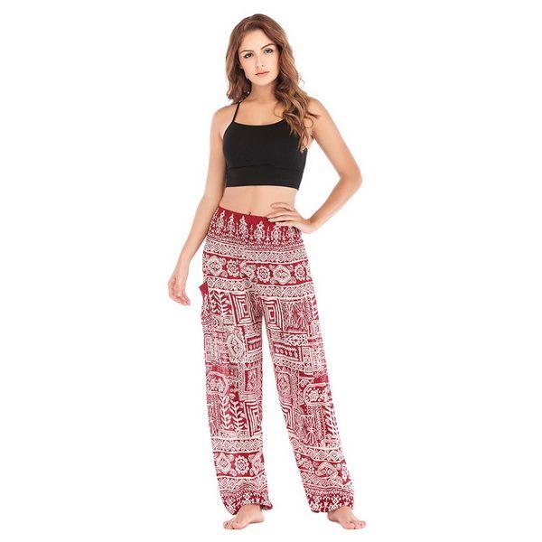 2019 neue Mode Frauen Thai und indische Yogahosen, Laternen, Yoga Freizeithosen, Fishbone Printing Yogahosen