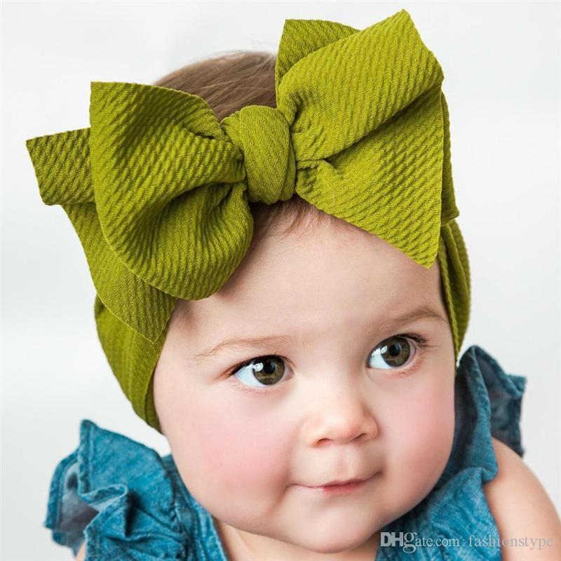 أزياء كبير القوس الطفلات رباطات مطاطا bowknot hairbands أغطية الرأس للأطفال غطاء الرأس العصابات الوليد لينة العمامة رئيس يلتف