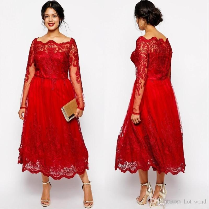 Элегантная красная мать невесты платья длиной чайные кружевные аппликации с длинными рукавами плюс размер свадебные гостевые платья формальные партии платье на заказ