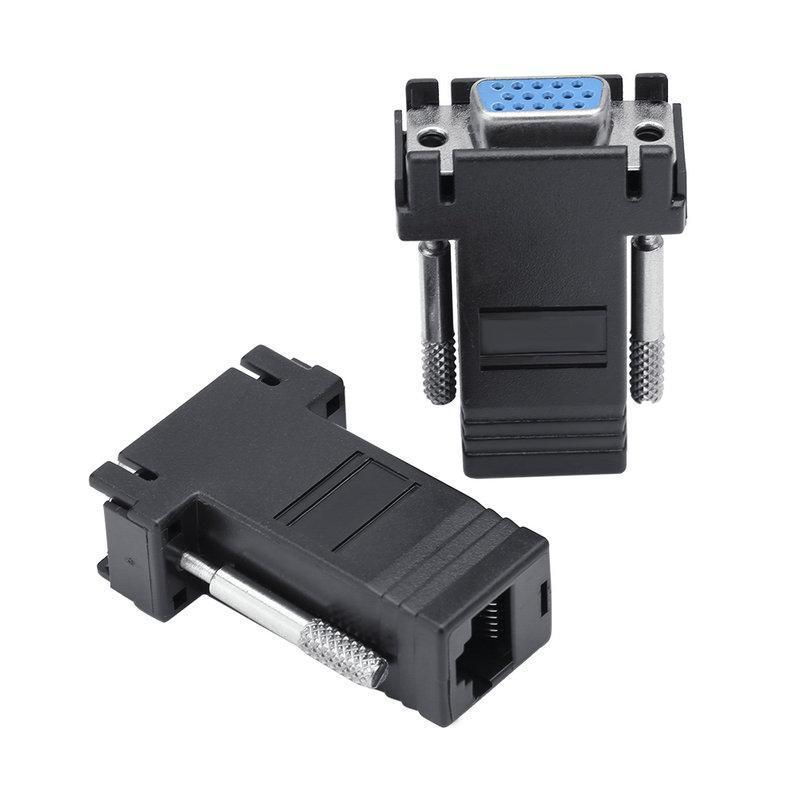 Packs VGA para RJ45 Extender Adapter CAT5E CAT6 cabo Ethernet Connector Male to Female Converter 2 cores opcionais 7