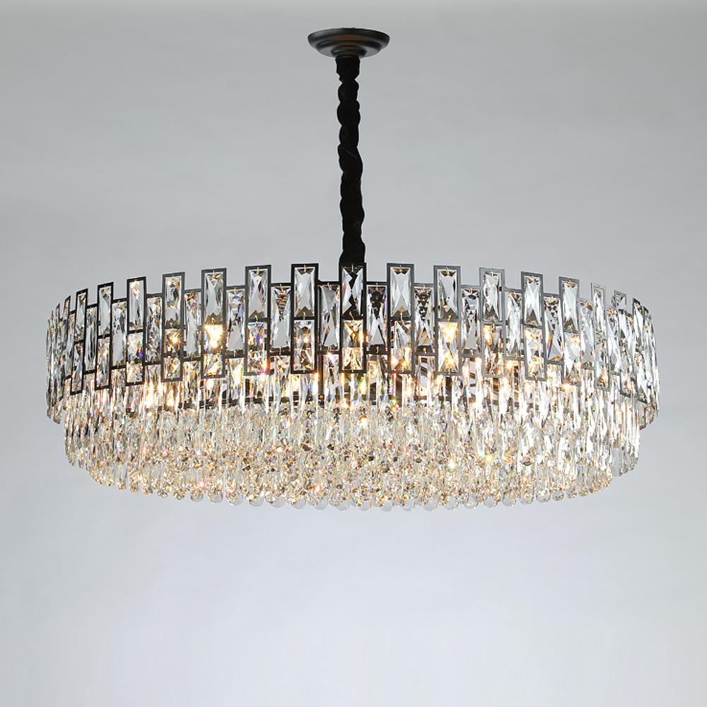 Moderne schwarze Kronleuchter Kristalle leuchten Glanz cristal Design rustikale runde geführte Kronleuchter im Wohnzimmer Schlafzimmer