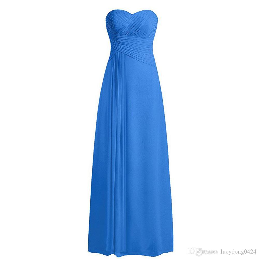 Yeni Sevgiliye Yeni Geliş Nedime Elbiseler 2019 Basit Stil Kat uzunlukta Şifon Nedime Elbisesi Nedime Elbisesi Düğün Törenlerinde