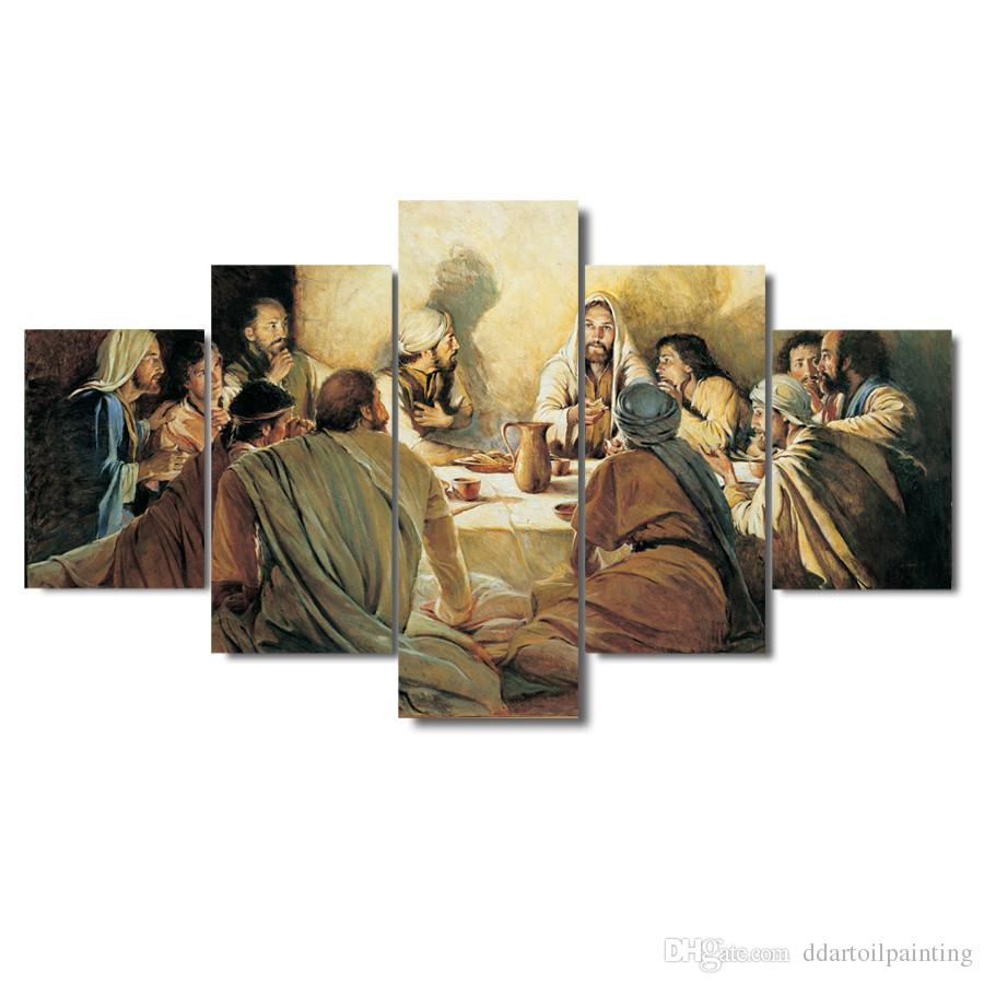 "LARGE 60""x32"" 5Panels The Last Supper Canvas Print Home Decor interior (No Frame)"