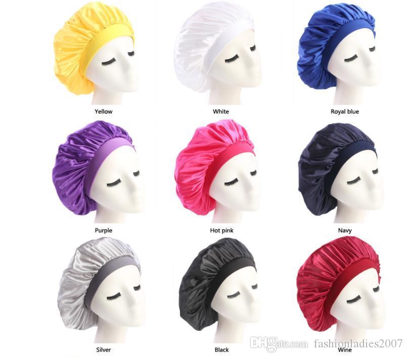 Nuove donne musulmane Stretch turbante sonno sciarpa Sciarpa silky Bonnet Chemo Berretti Caps Cancer Headwear Head Wrap Accessori per la perdita dei capelli