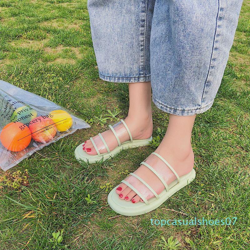 Тапочки Женщины Summer Luxury Слайды Обувь Прозрачный Дизайнерские каблука Плоский Массаж Soft Rubber Рим Основные PU Обувь Прозрачный T07