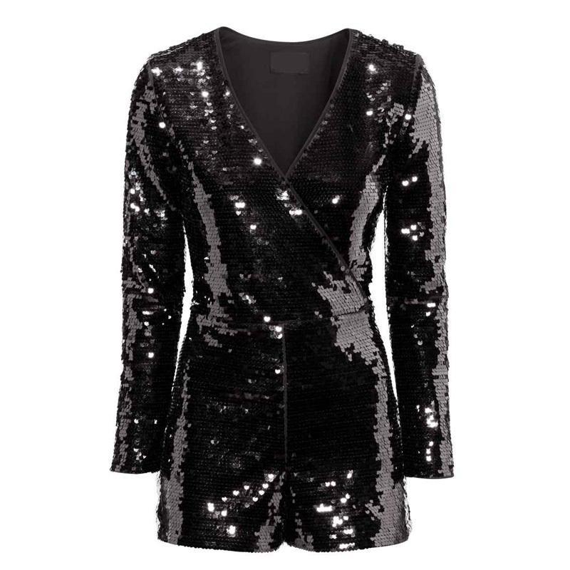 Acheter Nouveauté Femmes De Taille Plus élégante Sequins Noir Skinny