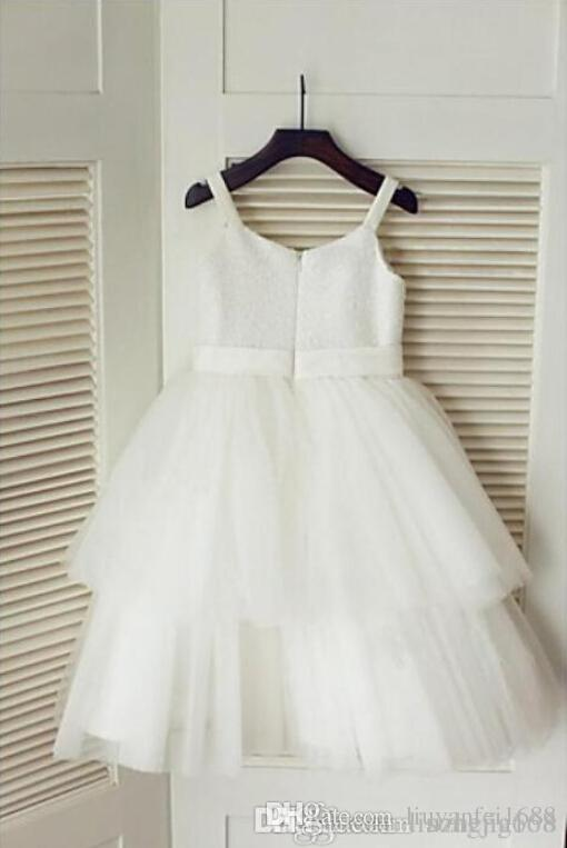 A-Line Princess Spaghetti Straps Tulle And Sequined Beautiful Flower Girl Dress Halloween Easter Birthday Christmas Clothes