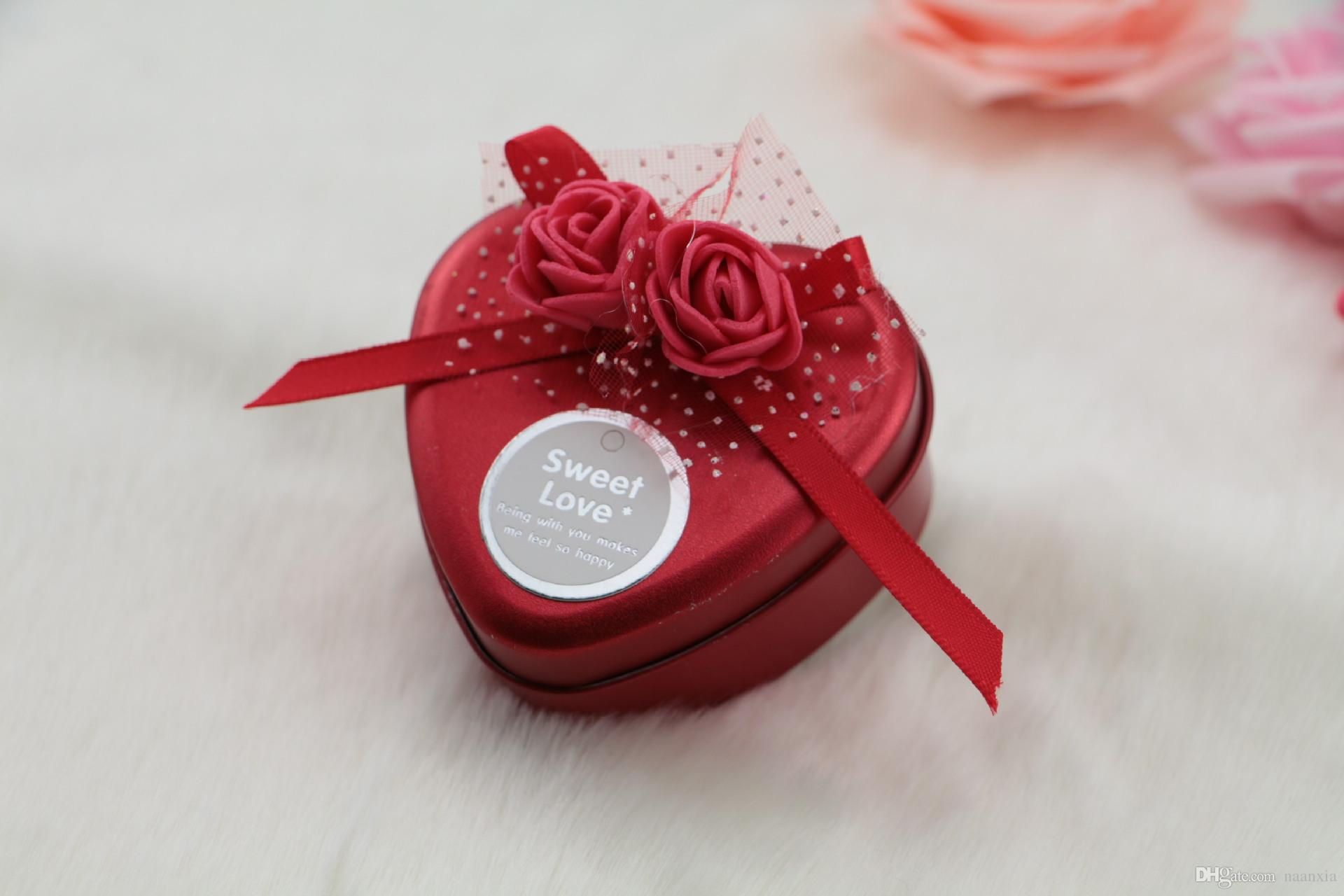 Wedding Favors Tin Candy Box Ribbon Gift Can Heart Shape