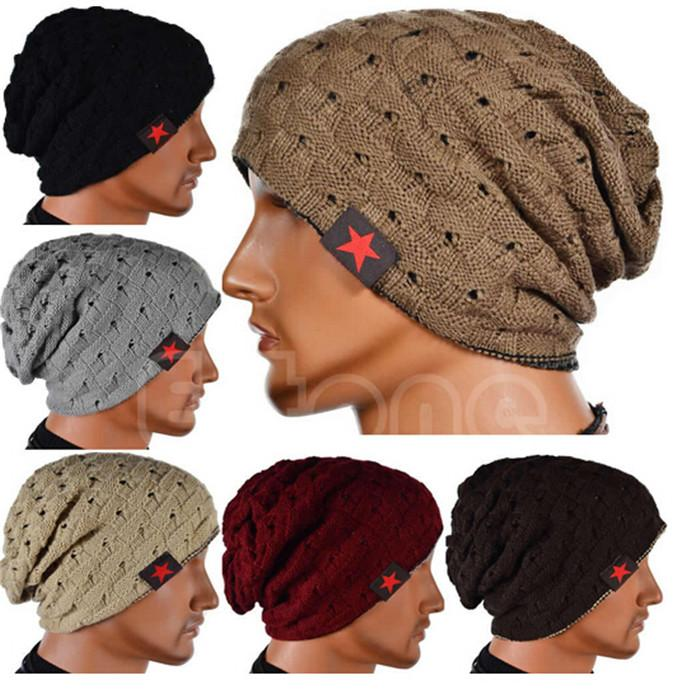 ea71e75f9c20ce star cap men women Unisex Winter Knit Winter Hat Beanie Reversible Skull  Chunky Baggy Warm Cap Double-sided wear