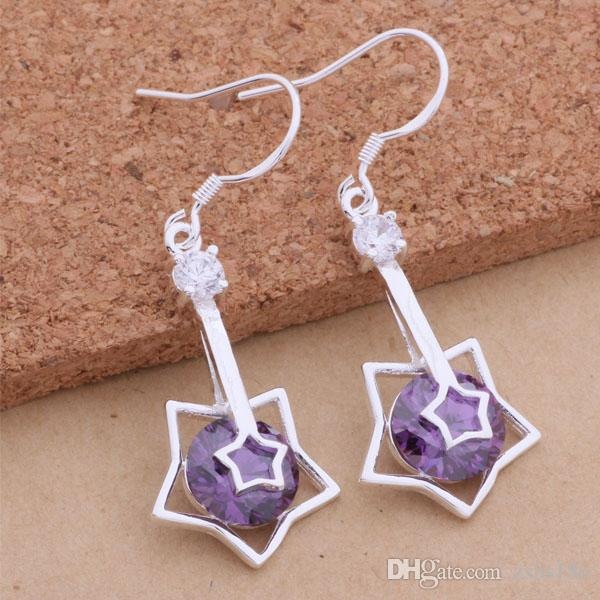 / 925 Sterling silver jewelry Crystal Dangle Earrings fashion party sexy woman Top quality for