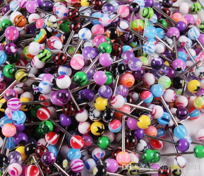 Kadınlar Için karışık Renk Akrilik Dil Damızlık Yüzük şeker renk Piercing dil piercing Yüzük Çiviler Halter Takı Nibble BY