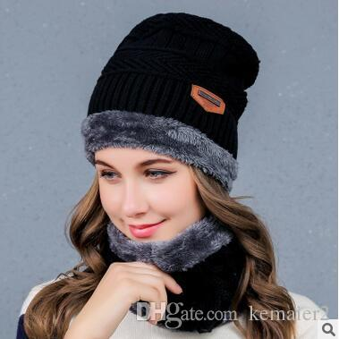 dbdc7955ae7 New Product Men Winter Slouchy Beanie Hat Scarf Set Women Lined Thick Knit  Skull Cap Outdoor Hat Scarf Fur Hats Baby Beanies From Kemaier2