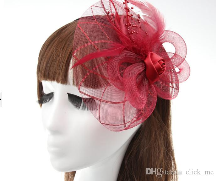 Hottest Vintage Hats Perfect Birdcage Headpiece Beads White Black Red Blue Bridal Net Hat Wedding Bird Cage Veils
