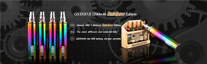 Rainbow Ego 2200mah E Cigarette Battery GS Ego II Huge Capacity 2200 mah Original Greensound KGO ONE WEEK Ecig Batteries Fit H2S Atomizers