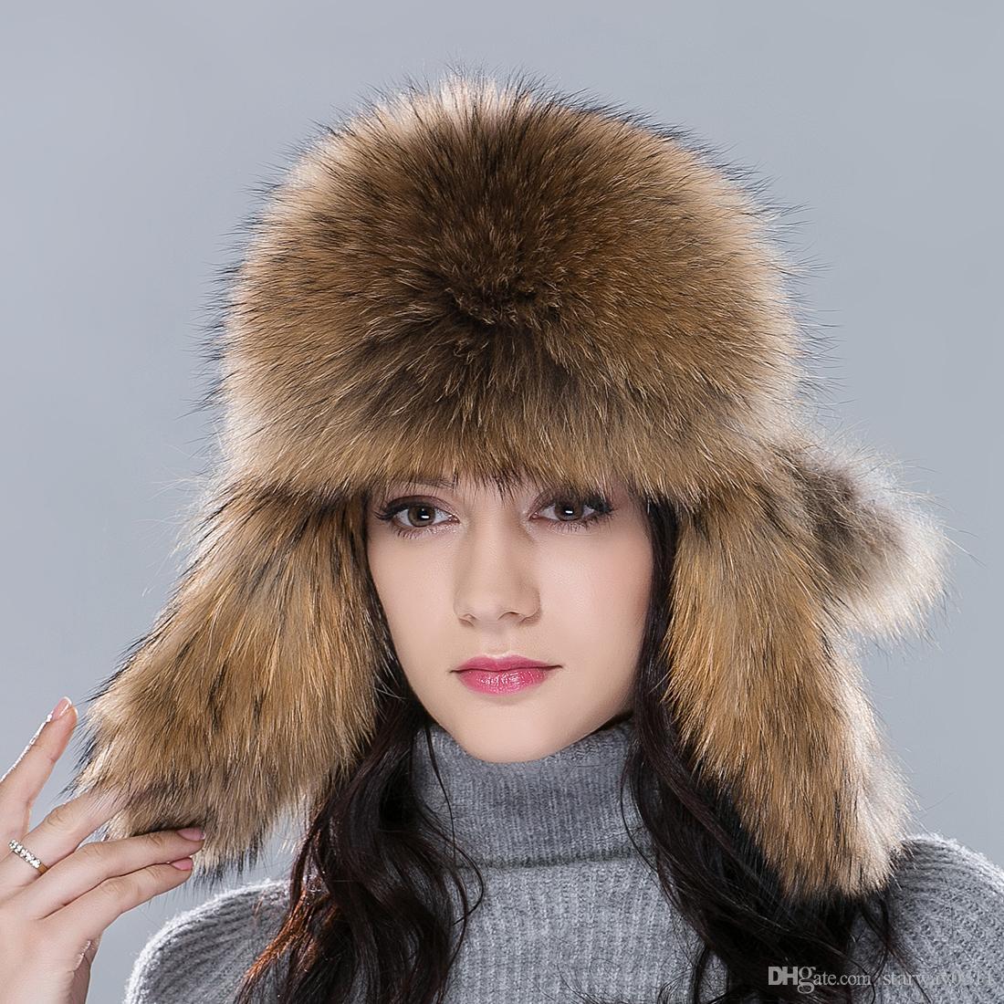 Ursfur Aviator Hat Women S Fur Hat Fluffy Brim Amp Earflap