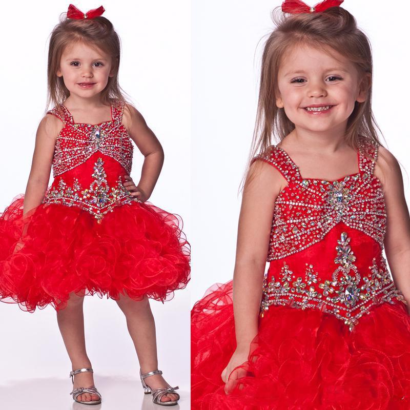 사랑스러운 2015 보석 볼 가운 Organza 페르시 미니 빨간색 짧은 여자의 미인 대회 드레스 꽃 파는 아가씨 드레스