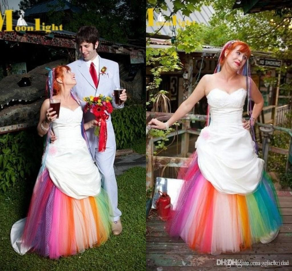 Discount rainbow wedding dresses 2015 custom made ball gowns wedding discount rainbow wedding dresses 2015 custom made ball gowns wedding gowns tulle sweetheart court train vestido de noiva colorful bridal dress modest junglespirit Gallery
