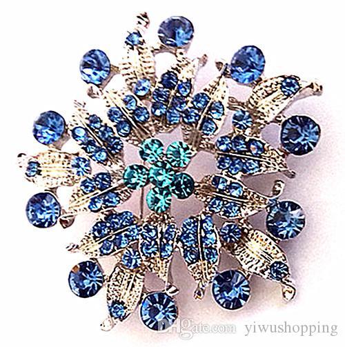 Zinc Alloy Fashion Jewelry Silver Plated Flower and Leaf Design Blue Rhinestone Crystal Bouquet Pin Brooch