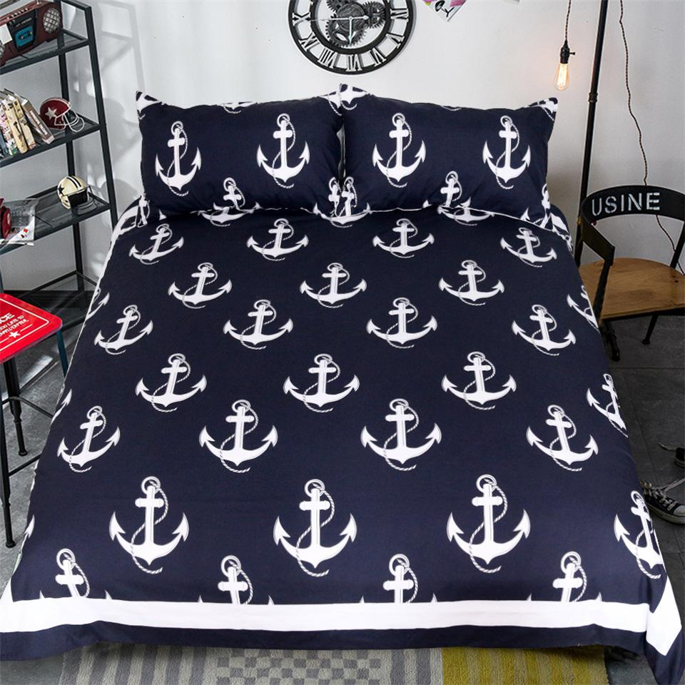 Anchor bedding set queen size for kids boy bedclothes dark blue and white duvet cover set simple bed cover hotel bedding cheap duvet covers from shinelily