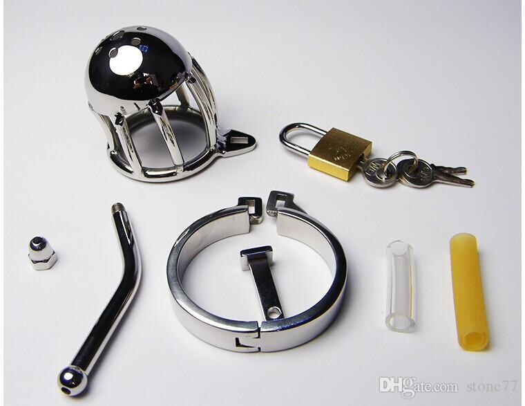 New Chegou Tamanho Pequeno Dispositivo de Castidade De Aço Inoxidável Masculino Dispositivo de Castidade Gaiola Com Uretral Sons Plugue Cateter Sexo BDSM brinquedos